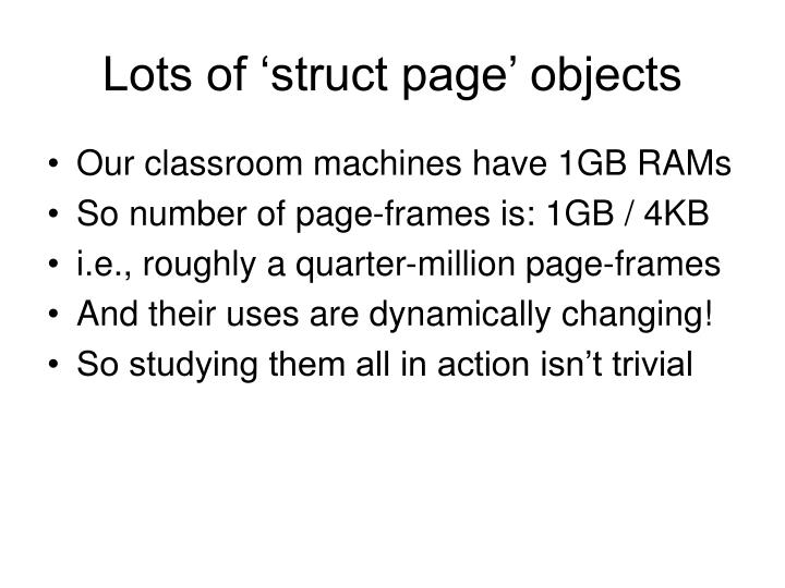 Lots of 'struct page' objects