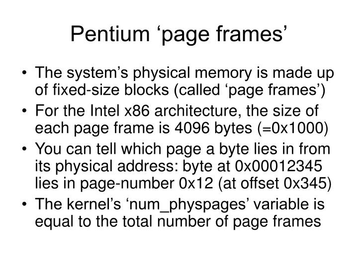 Pentium 'page frames'
