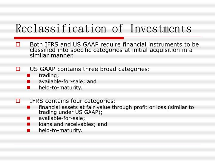 Reclassification of Investments