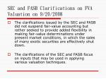 sec and fasb clarifications on fva valuation on 9 20 2008