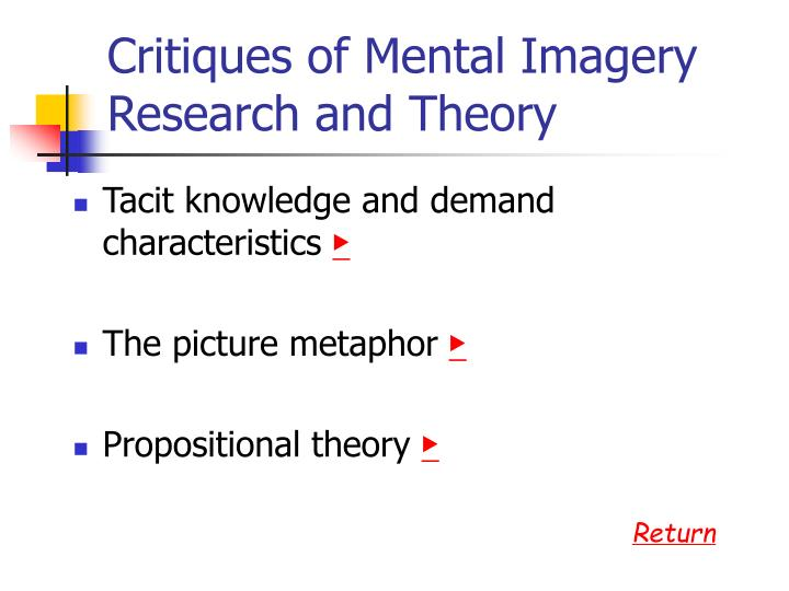 Critiques of Mental Imagery Research and Theory