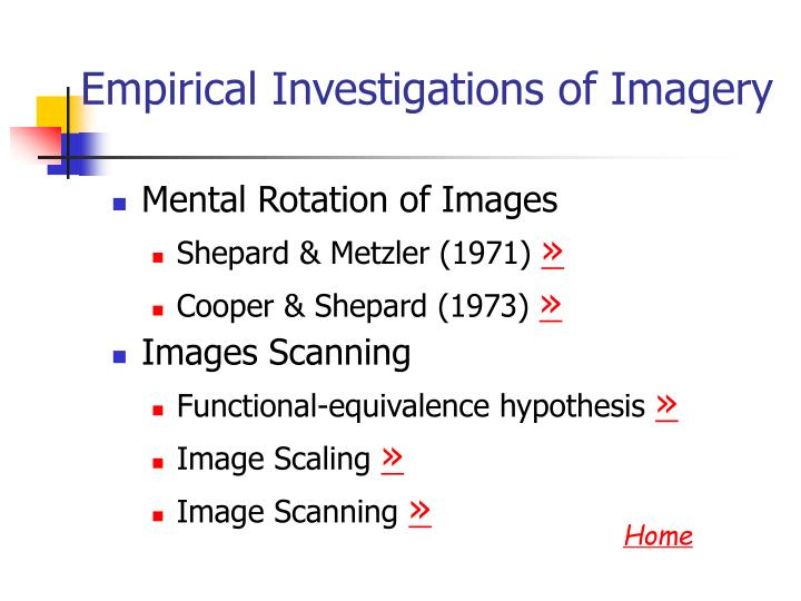 Empirical Investigations of Imagery