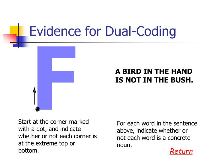 Evidence for Dual-Coding