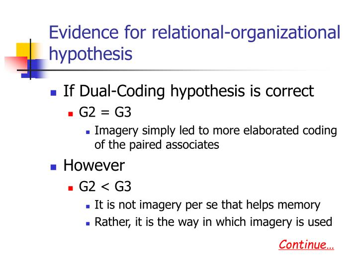 Evidence for relational-organizational hypothesis
