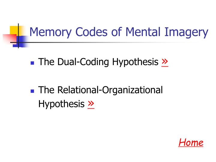 Memory Codes of Mental Imagery