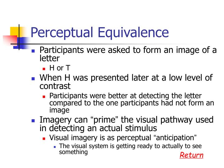 Perceptual Equivalence