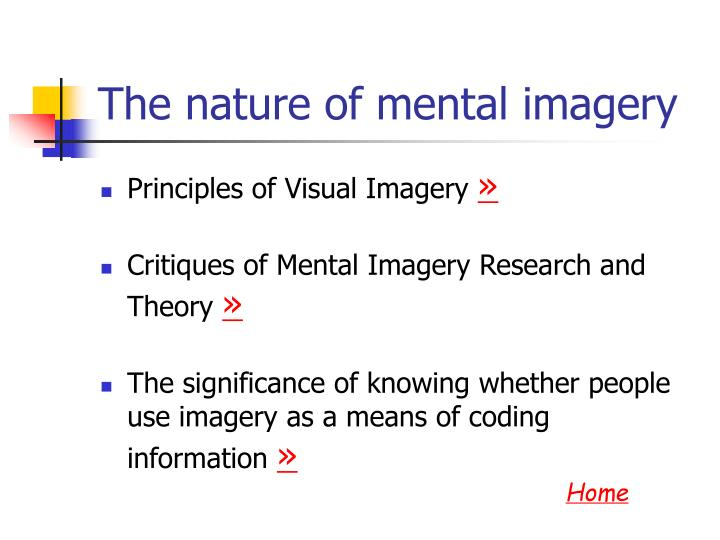The nature of mental imagery