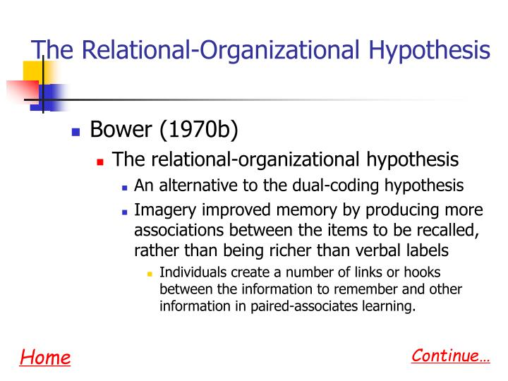 The Relational-Organizational Hypothesis