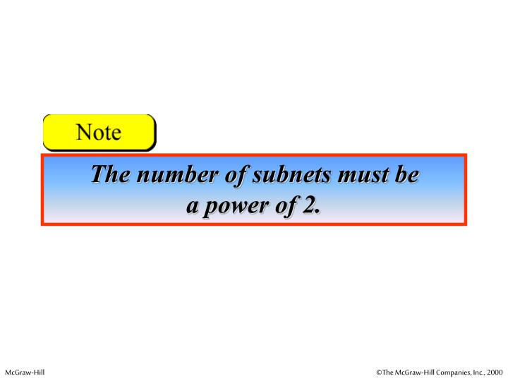 The number of subnets must be