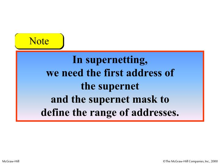 In supernetting,
