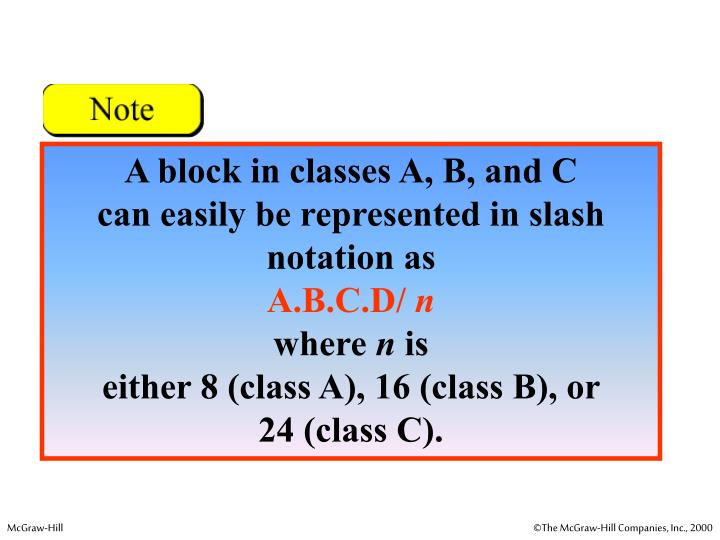 A block in classes A, B, and C