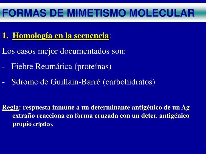 FORMAS DE MIMETISMO MOLECULAR