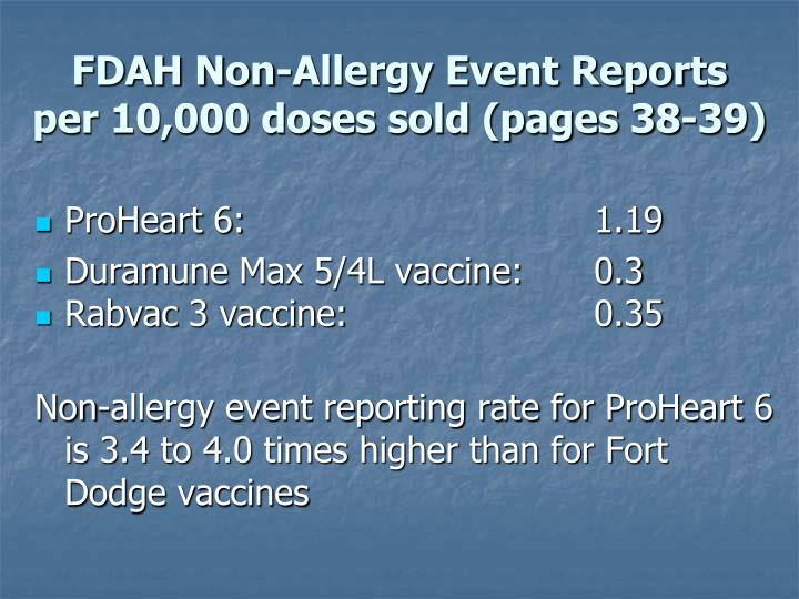 FDAH Non-Allergy Event Reports