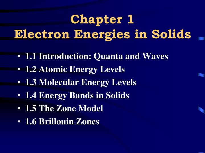 Chapter 1 electron energies in solids