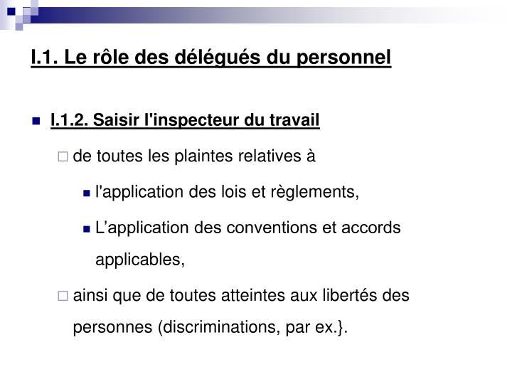 I.1. Le rôle des délégués du personnel