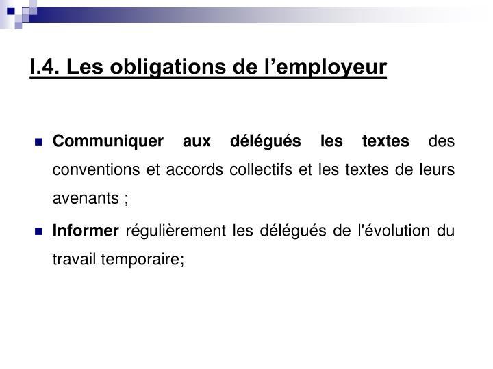 I.4. Les obligations de l'employeur