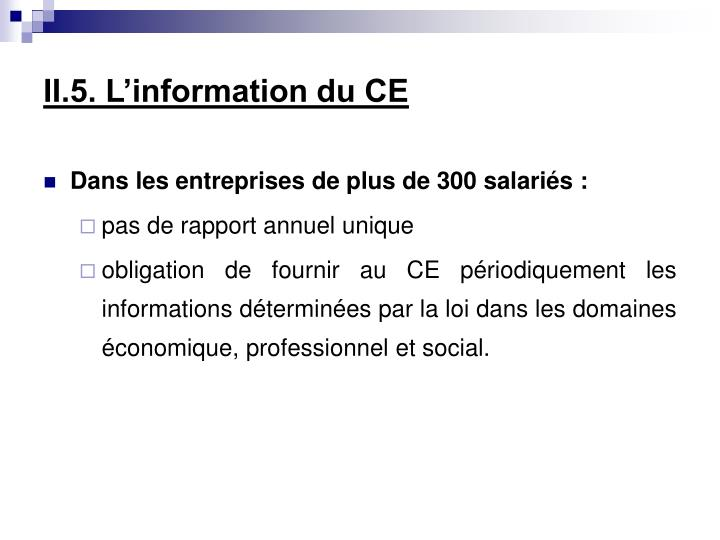 II.5. L'information du CE