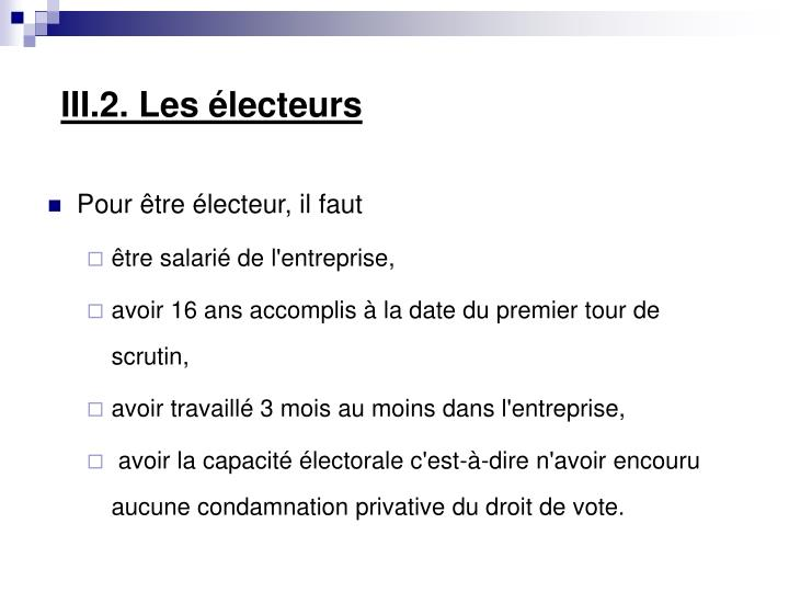 III.2. Les électeurs