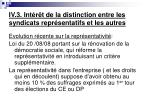iv 3 int r t de la distinction entre les syndicats repr sentatifs et les autres5