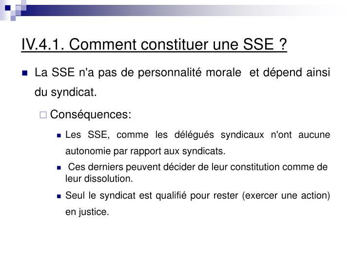 IV.4.1. Comment constituer une SSE ?