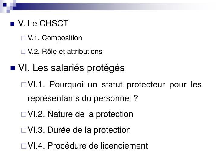 V. Le CHSCT