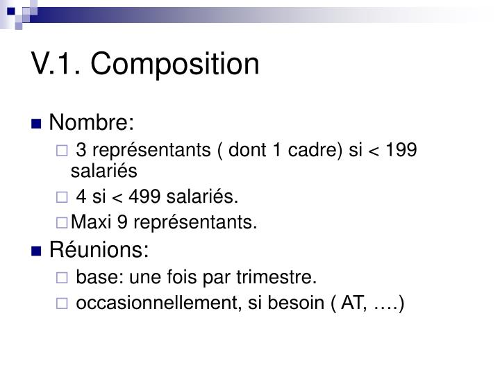 V.1. Composition