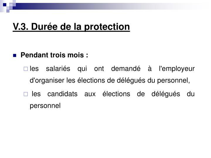 V.3. Durée de la protection