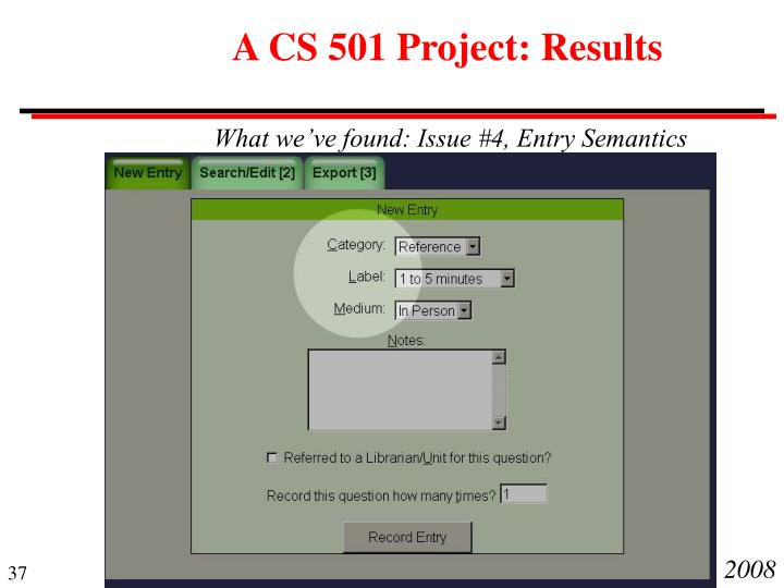 A CS 501 Project: Results