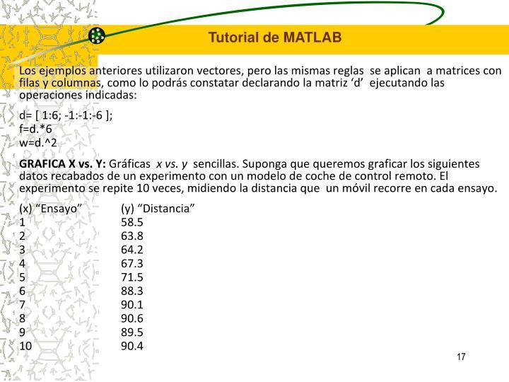 Los ejemplos anteriores utilizaron vectores, pero las mismas reglas  se aplican  a matrices con filas y columnas, como lo podrás constatar declarando la matriz 'd'  ejecutando las operaciones indicadas: