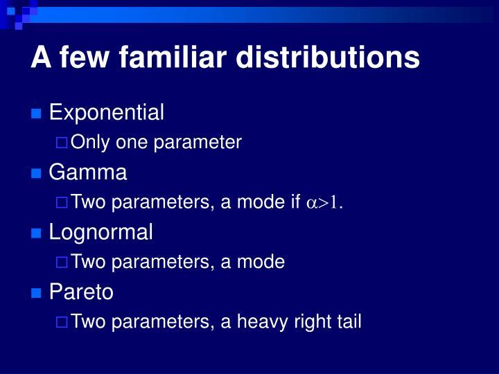 A few familiar distributions