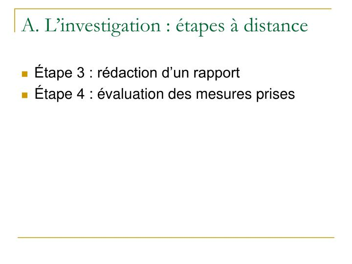 A. L'investigation : étapes à distance