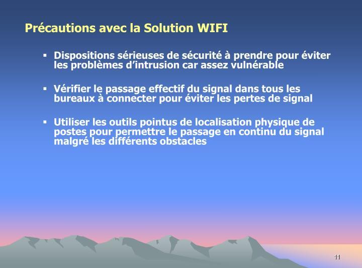 Précautions avec la Solution WIFI