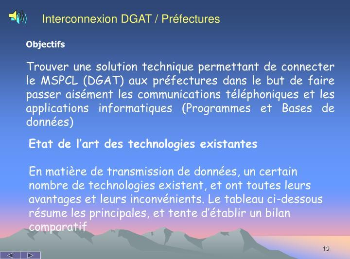 Interconnexion DGAT / Préfectures