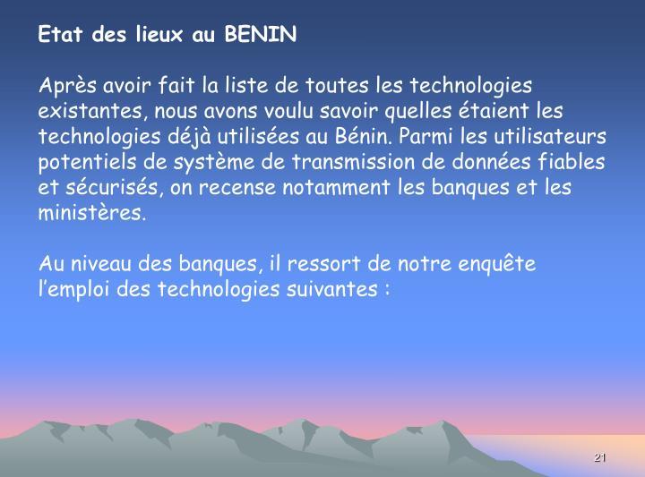 Etat des lieux au BENIN