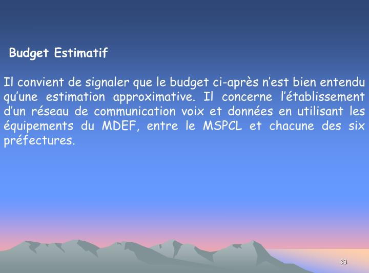 Budget Estimatif