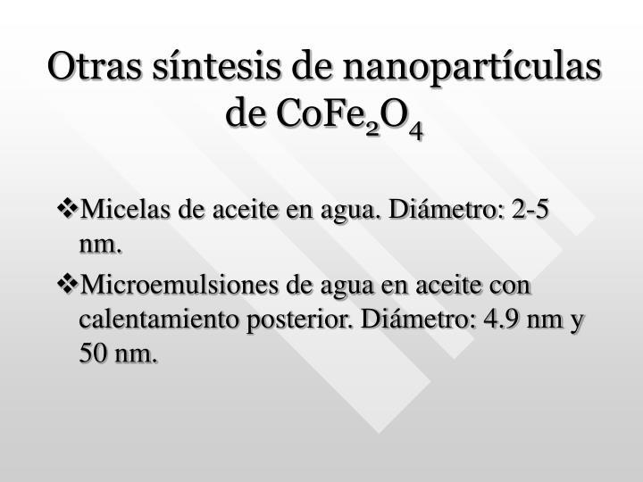 Otras síntesis de nanopartículas