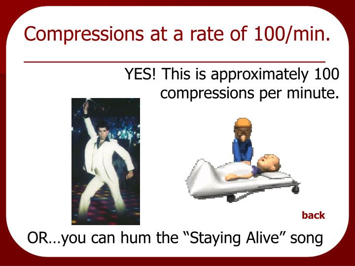Compressions at a rate of 100/min.
