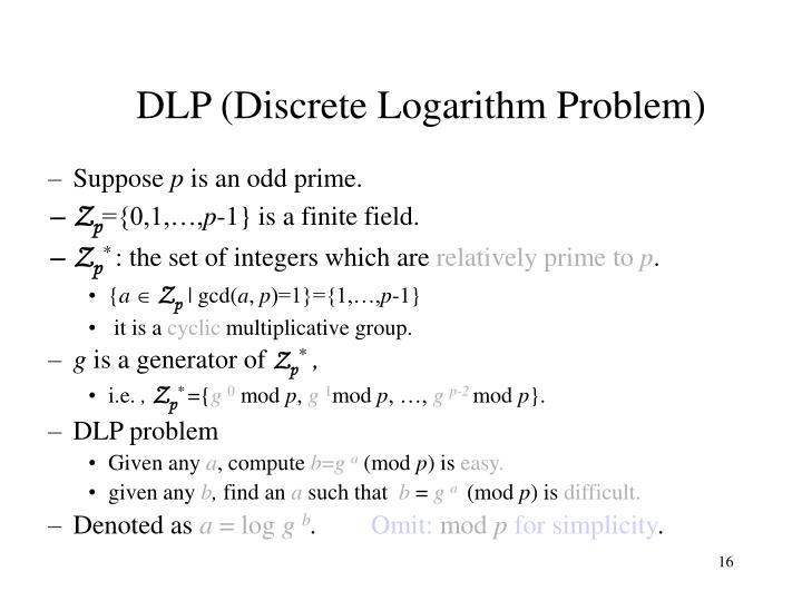 DLP (Discrete Logarithm Problem)