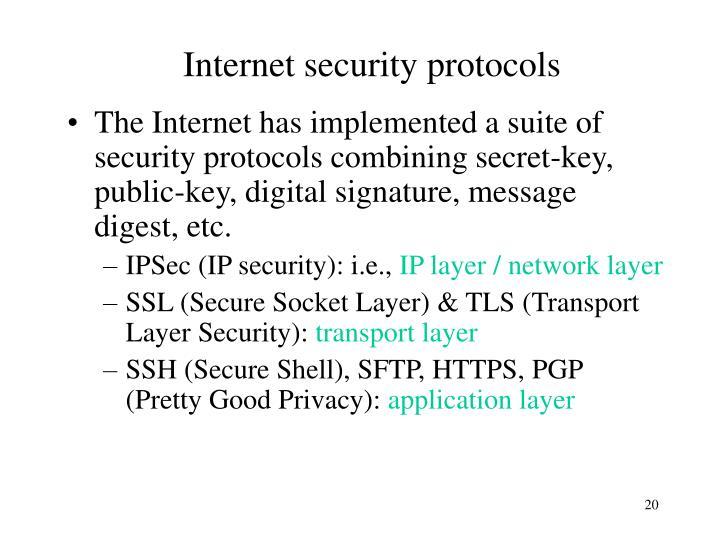Internet security protocols