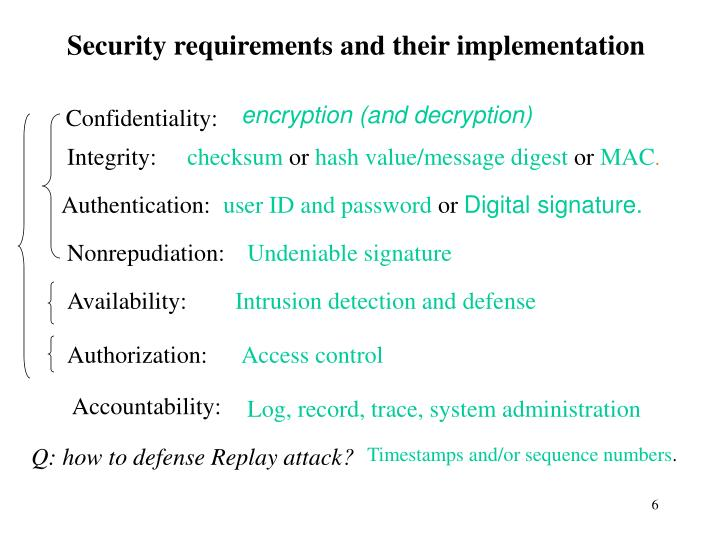 Security requirements and their implementation