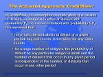 the actuarial approach creditrisk