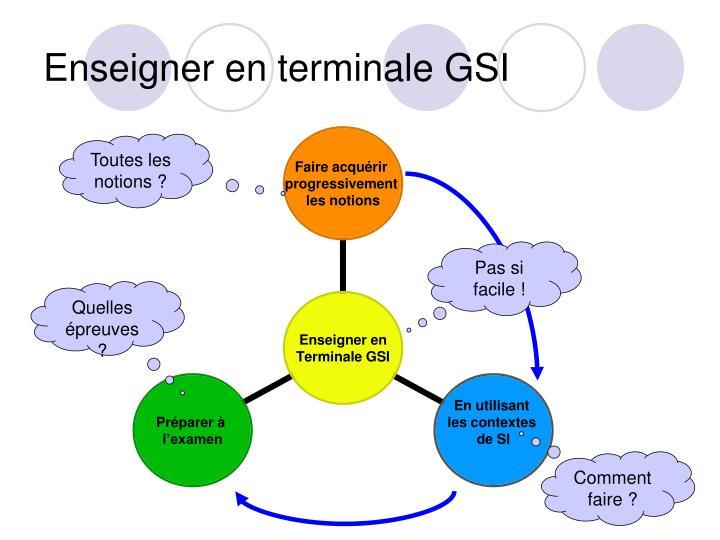 Enseigner en terminale GSI