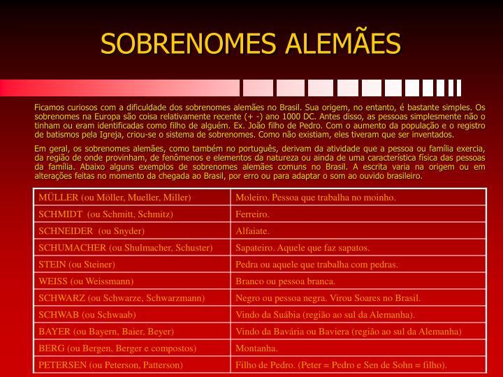 SOBRENOMES ALEMÃES