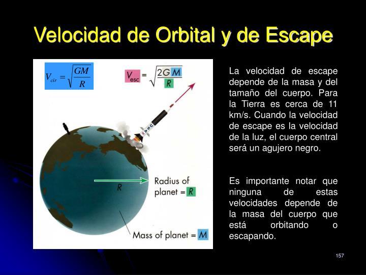 Velocidad de Orbital y de Escape