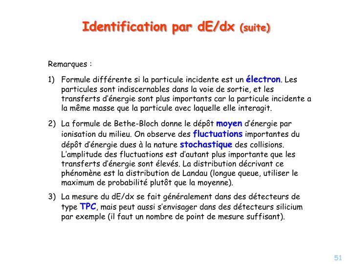 Identification par dE/dx