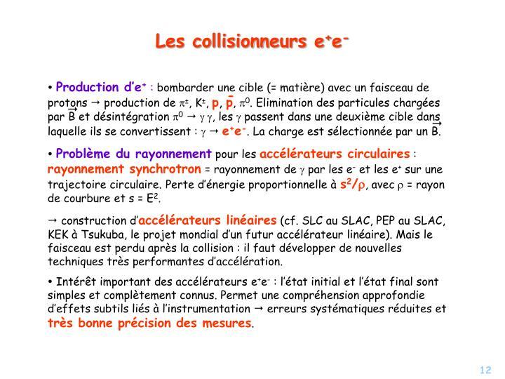 Les collisionneurs e