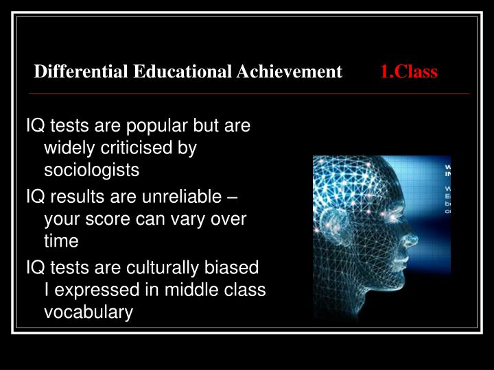 Differential educational achievement 1 class2