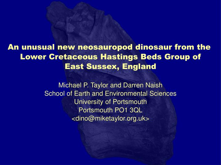 An unusual new neosauropod dinosaur from the
