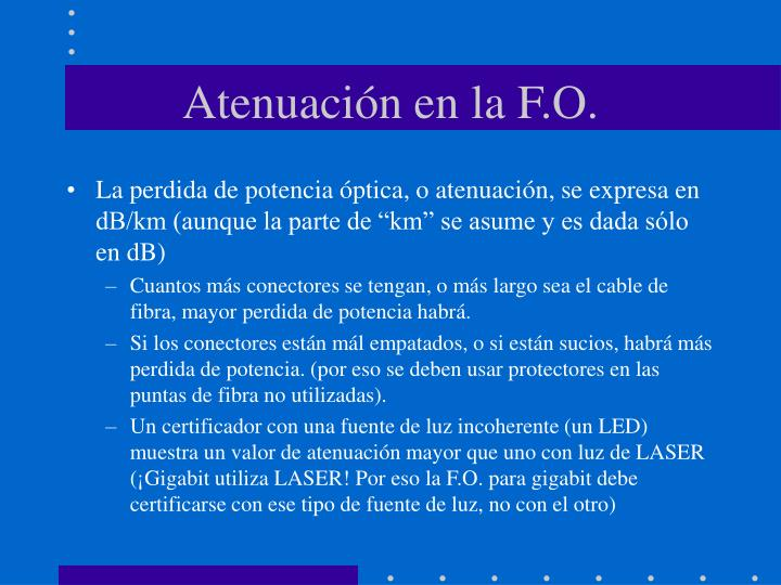 Atenuación en la F.O.