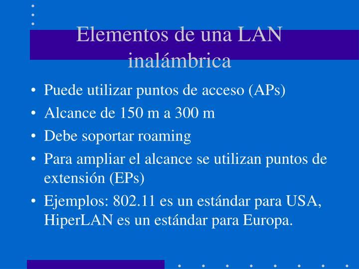 Elementos de una LAN inalámbrica